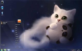 呆萌猫咪与熊猫win7主题