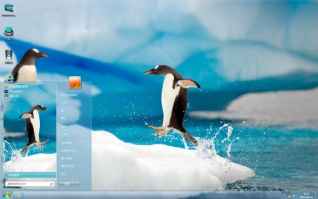 可爱南极企鹅桌面主题