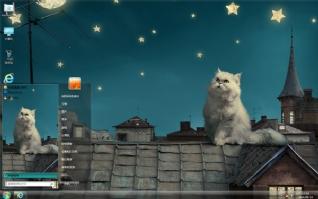 屋顶上的波斯猫可爱主题