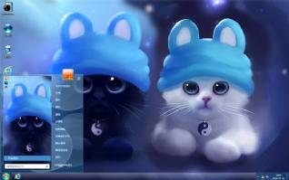 可爱萌物黑白猫主题