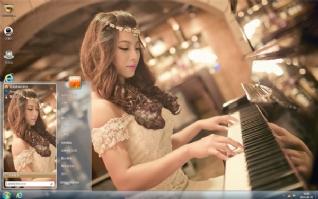 美丽钢琴才女桌面主题