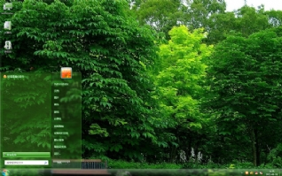 清新绿色植物长椅主题