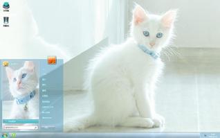 可爱白色猫咪唯美win7主题
