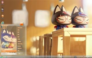 拽猫小情侣可爱主题