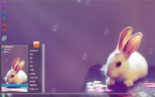 可爱萌兔兔win7桌面主题
