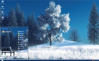 冬季大树白色雪花xp主题