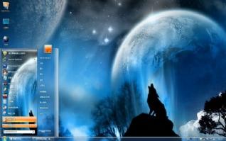星空夜狼win7电脑主题